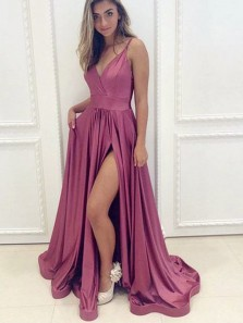 Charming A Line V Neck Cinnamon Rose Satin Long Prom Dresses with Slit, Fashion Evening Party Dresses