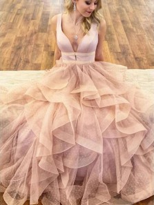 Ball Gown V Neck Ruffled Organza Daffodil Sweet 16 Dresses, Quinceanera Dresses