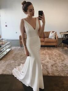 Elegant Mermaid V Neck Open Back Soft Satin Long Wedding Dresses