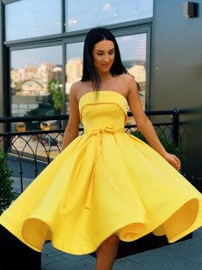 Cute A Line Strapless Yellow Satin Short Homecoming Dresses with Pockets