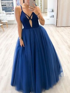 Charming Ball Gown Deep V Neck Royal Blue Long Prom Dresses with Straps PD2011902