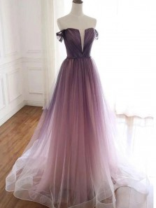 Goreous Ball Gown Off the Shoulder Gradient Pink Tulle Prom Dresses, Formal Evening Dresses