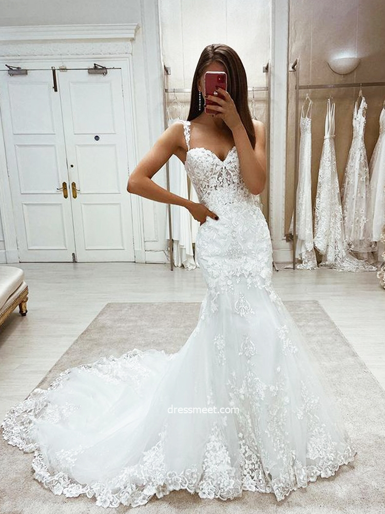 Luxurious Mermaid Sweetheart Lace Wedding Dresses with Appliques