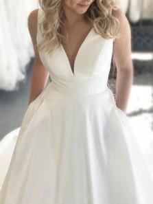 Elegant Ball Gown V Neck Open Back Satin White Wedding Dresses with Button