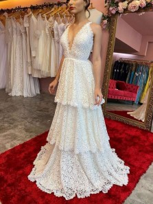 Fashion New Arrival Gorgeous V Neck Heavy Lace Wedding Dresses Tiered Wedding Gowns