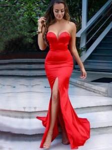 Mermaid Sweetheart Open Back Red Satin Split Prom Dresses, Evening Party Dresses