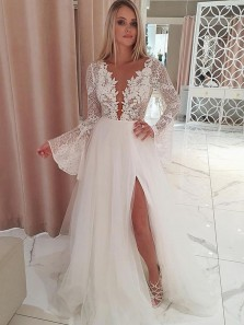 Fairy A Line V Neck Long Sleeves Slit Wedding Dresses wit Lace Appliques