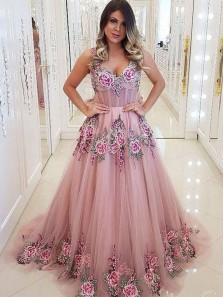 Ball Gown V Neck Open Back Blush Pink Tulle Prom Dresses with Appliques