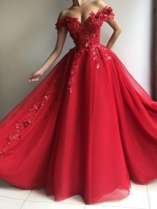 Gorgeous Ball Gown Off the Shoulder Red Prom Dresses, Quineanera Dresses