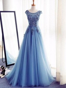 Gorgeous Ball Gown Bateau Blue Tulle Prom Dresses with Appliques, Quinceanera Dresses