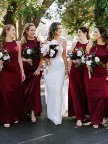 Elegant Sheath Round Neck Dark Red Chiffon Bridesmaid Dresses Under 100