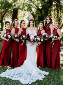 Elegant Sheath Round Neck Dark Red Chiffon Bridesmaid Dresses Under 100
