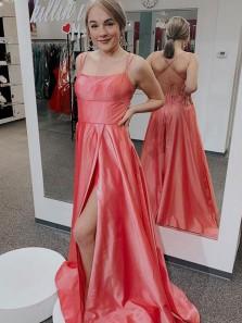 Cute A Line Scoop Neck Spaghetti Straps Coral Satin Slit Prom Dresses Under 100