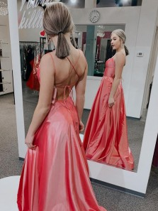 Cute A Line Scoop Neck Spaghetti Straps Coral Satin Slit Prom Dresses Under 100