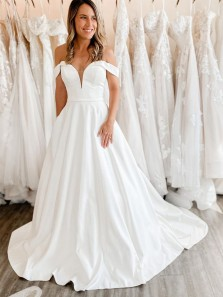 Ball Gown Off the Shoulder White Satin Long Wedding Dresses with Pockets