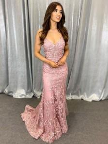 Charming Mermaid V Neck Spaghetti Straps Blush Lace Prom Dresses, Formal Elegant Evening Dress