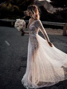 Bling Bling A Line See Through Deep V Neck Long Sleeves Open Back Sparkly Wedding Dresses, 2020 Fashion Wedding Dresses WD2012101