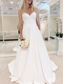 Gorgeous Ball Gown Sweetheart White Satin Long Wedding Dresses