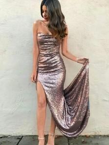 Charming Mermaid Sweetheart Open Back Sequins Slit Long Prom Dresses, Blush Evening Dresses