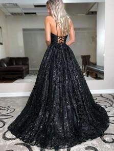 Charming A Line V Neck Spaghetti Straps Black Sequins Prom Dresses