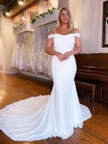 Charming Mermaid Off the Shoulder Satin Long Wedding Dresses