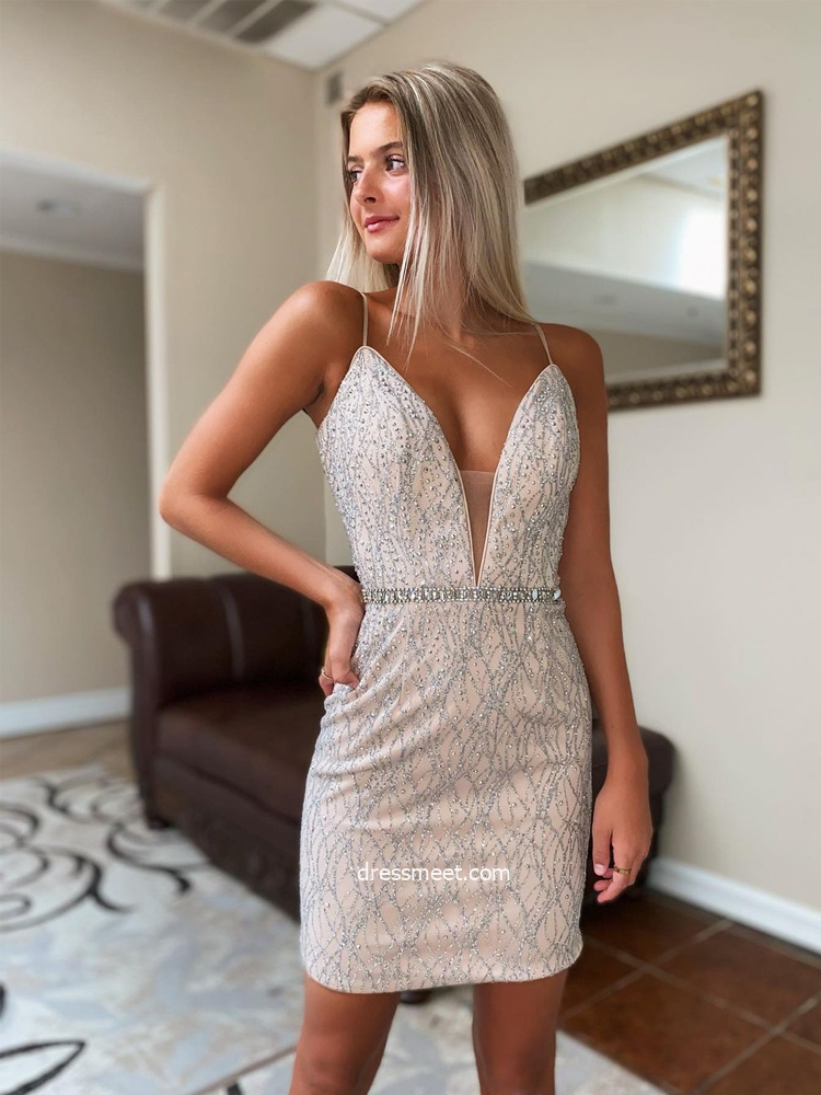 Charming Bodycon V Neck Spaghetti Straps Champagne & Slivery Homecoming Dresses, Party Dresses