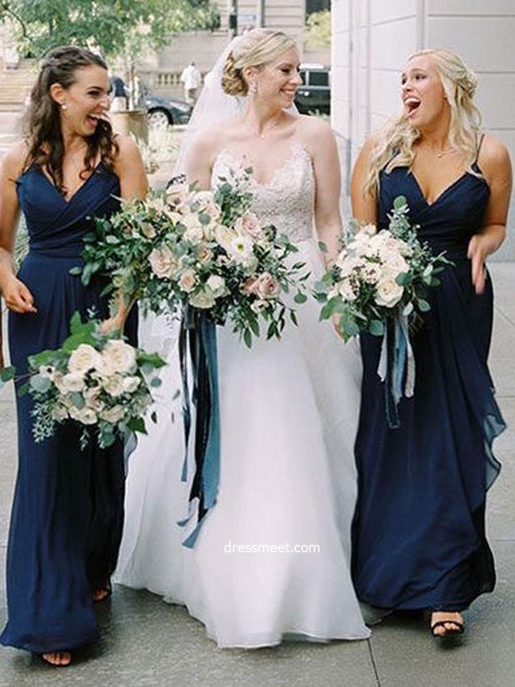 2021 Spring Elegant V Neck Straps Navy Blue Chiffon Bridesmaid Dresses Under 100