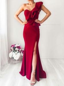 Charming Mermaid One Shoulder Ruffled Sleeves Slit Evening Dresses