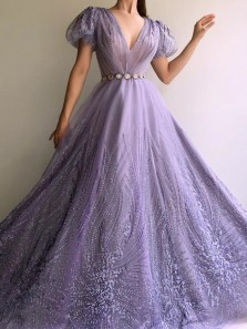 Ball Gown V Neck Short Sleeves Lavender Tulle Lace Prom Dresses, Quinceanera Dresses