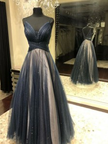 Gorgeous A Line V Neck Spaghetti Straps Grey & Champagne Long Prom Dresses, Fashion Prom Gowns