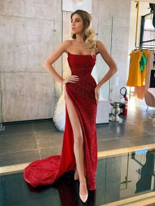 Sparkly Mermaid Strapless Dark Red Slit Prom Dresses, Sexy Evening Sequins Dresses