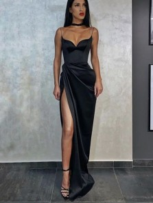 Sexy Mermaid Sweetheart Spaghetti Straps Black Satin Slit Prom Dresses