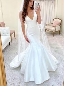 Elegant Mermaid V Neck Spaghetti Straps White Satin Wedding Dresses