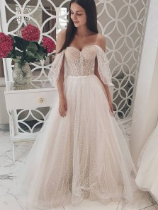 Fairy A Line Sweetheart Off the Shoulder White Dot Tulle Wedding Dresses