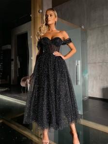 Glitter Cute A Line Sweetheart Sparkly Black Tulle Prom Dresses, Little Black Dresses