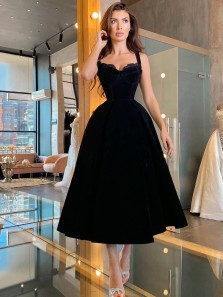 1950s Cute A Line Sweetheart Black Satin Prom Dresses, Party Dresses