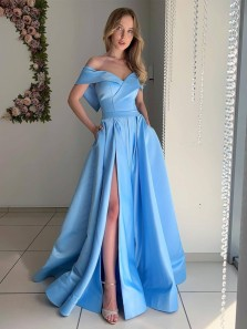 Ball Gown Off the Shoulder Blue Satin Slit Prom Dresses with Pockets