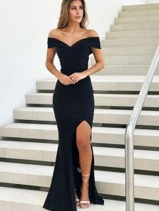 Simple Fitted Mermaid Off the Shoulder Slit Prom Dresses, Black Evening Dresses Under 100