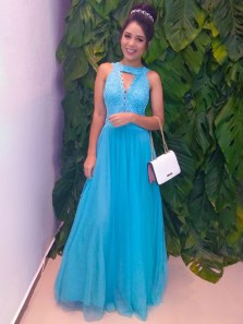 Charming A Line Round Neck Blue Tulle Lace Prom Dresses, Evening Dresses