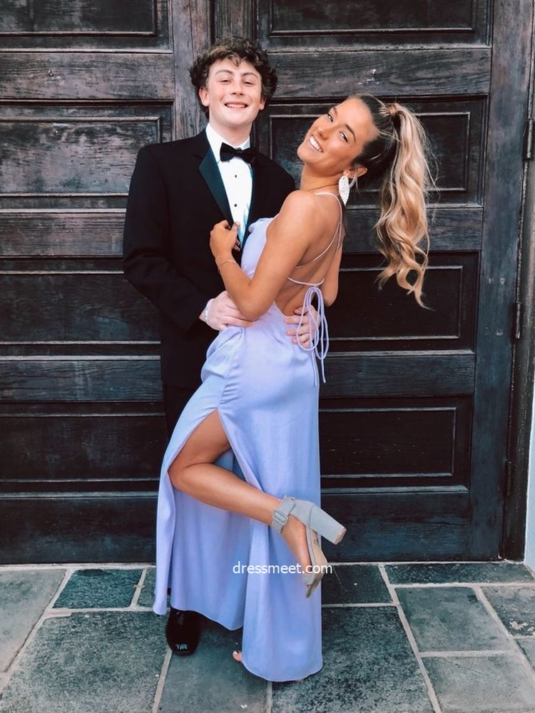 Cute Sheath Cowl Neck Cross Back Straps Blue Prom Dresses with Side Slit