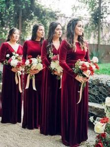 Elegant Sheath Round Neck Dark Red Velvet Long Sleeves Bridesmaid Dresses