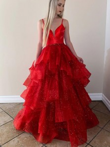 Cute Sparkly Ball Gown V Neck Straps Red Ruffled Tulle Prom Dresses