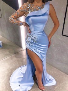 Sexy Mermaid Round Neck Long Sleeve Slit Blue Satin Evening Dresses with Beading, Prom Dresses