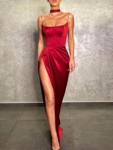 Sexy Mermaid Scoop Neck Straps Dark Red Satin Slit Prom Dresses, Evening Party Dresses
