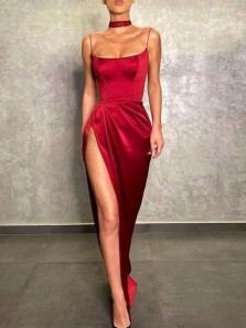 Sexy Mermaid Scoop Neck Straps Dark Red Satin Slit Prom Dresses, Evening Party Dresses