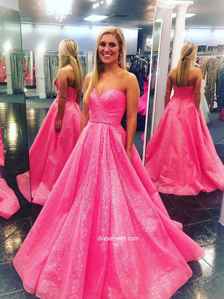 Sparkly Ball Gown Sweetheart Fuchsia Sequins Long Prom Dresses, Beautiful Quinceanera Dresses