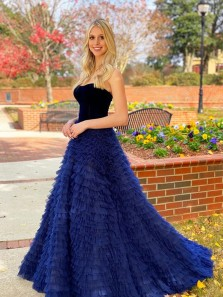 Fairy Ball Gown Sweetheart Royal Blue Tiered Tulle Prom Dresses with Velvet Top 2021