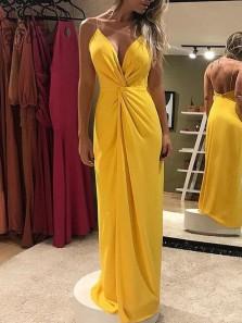 Charming Sheath V Neck Spaghetti Straps Yellow Chiffon Long Prom Dresses Under 100, Ruffled Evening Party Dresses with Split