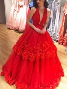 Gorgeous Ball Gown Deep V Neck Red Velvet Tulle Flower Quinceanera Dresses, Prom Dresses