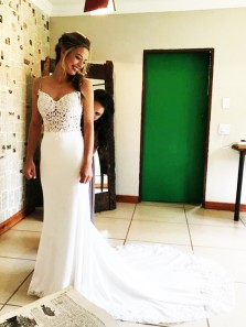 Charming Mermaid Sweetheart Open Back White Lace Long Wedding Dresses with Train